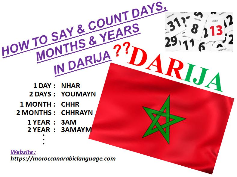 learn week days and counting days months years in moroccan arabic